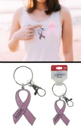 96 Units of Breast Cancer Awareness Ribbon Hope Keychain - Breast Cancer Awareness Socks