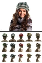 24 Units of Plaid Stretch Fit Fashion Hat - Fedoras, Driver Caps & Visor
