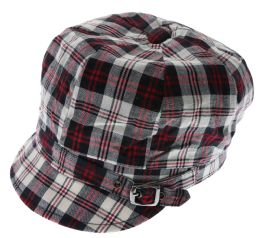 36 Units of One Size Fits Most Plaid Pattern Decorative Buckle Bakerboy Hat - Fedoras, Driver Caps & Visor