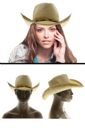 24 Units of Paper Cowboy Hat With Wooden Beads Accents - Sun Hats