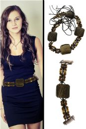 48 Units of Brown Fashion String Belt With Wooden Bead Accents - Womens Belts