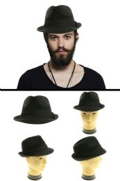 48 Units of Black Trilby Hat CottonAnd Polyester Blend - Fedoras, Driver Caps & Visor
