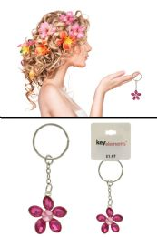 96 Units of Pink Rhinestone Flower Shaped Key Chain - Key Chains