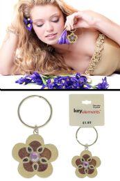 96 Units of Flower Shaped Rhinestone Accented Key Chain - Key Chains