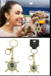 96 Units of Turtle Trigger Snap Split-Ring Key Chain with Crystal Accents - Key Chains