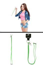 96 Units of Neon Green Elastic Lanyard Key Chain - Key Chains