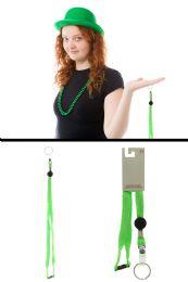 96 Units of Neon Green Woven Lanyard Key Chain - Key Chains