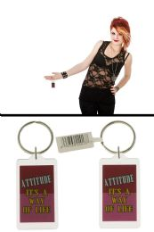 96 Units of Acrylic Keychain With Double Sided Card Inside Which Says ATTITUDE It's A Way Of Life - Key Chains