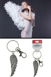 96 Units of Angel Wing Split Ring Key Chain AB Crystal Accents - Key Chains