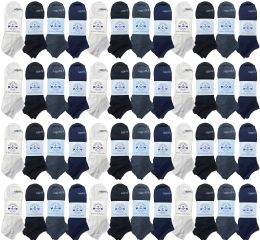 48 Units of Yacht & Smith Men's 97% Cotton Shoe Liner Training Socks, No Show, Thin Low Cut Sport Ankle Bulk Socks, 10-13 Assorted - Mens Ankle Sock
