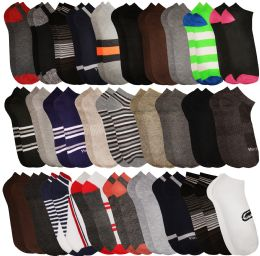 180 Units of Yacht & Smith Assorted Pack Of Mens Low Cut Printed Ankle Socks Bulk Buy - Mens Ankle Sock