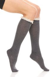 24 Units of Yacht & Smith 100% Cotton Womens Knee High Socks With Lace Trim, Size 9-11 Assorted Colors - Womens Knee Highs