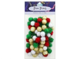 108 Units of Holiday Glitter 1/2 in  Pom Poms 80pc - Pom Poms and Feathers