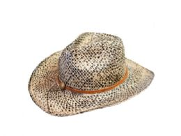 36 Units of Wicker Hat With Assorted Designs - Caps & Headwear