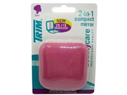 72 Units of Trim Pink 2 In 1 Compact Mirror With Magnetic Closure - Assorted Cosmetics