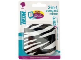 72 Units of Trim Zebra Print 2 In 1 Compact Mirror With Magnetic Closure - Assorted Cosmetics