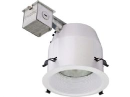 12 Units of Lithonia Lighting 5 Inch White Baffle Recessed Kit with PAR30 Bulb - Lightbulbs