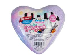 72 Units of Lavender Berry Heart Shaped Fizzy Bath Bomb - Bath And Body