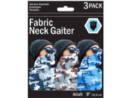 90 Units of 3 Pack Camouflage Style Neck Gaiter 3 Asst Colors - Sporting and Outdoors