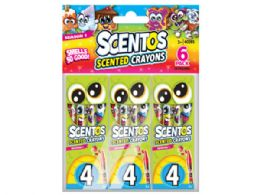 72 Units of 24 Scentos Scented Crayon Value Pack with 6 Packs of 4 Crayons - Crayon