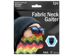 120 Units of 9 in  Colorful Wave Printed Neck Gaiter - Sporting and Outdoors