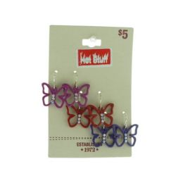 60 Units of Assorted Silver Tone Butterfly Earrings - Earrings