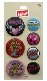 60 Units of 7 Pins With Sayings On A Card - Hat Pins & Jacket Pins