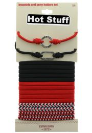 60 Units of Red And Black Pony Tail Holders And Bracelet Set - PonyTail Holders
