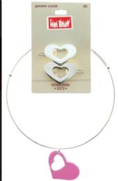 60 Units of Silver Tone Choker Necklace With Heart Pendant And Crystal Accents - Necklace