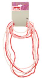 60 Units of Pink And White Beaded Necklace And Bracelet Set - Necklace