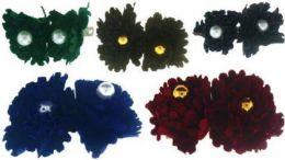 96 Units of Children's Assorted Color Velvet Rose Hair Barrette - Hair Scrunchies