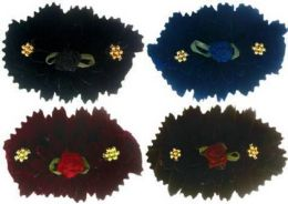 96 Units of Children's Assorted Color Velvet Hair Barrette - Hair Scrunchies