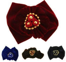 96 Units of Children's Velvet Bow With Gold Accents In Assorted Color - Hair Scrunchies