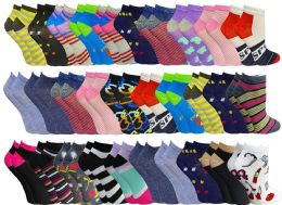 60 Units of Womens Colorful Assorted Lightweight Low Cut Ankle Socks, Size 9-11 - Womens Ankle Sock