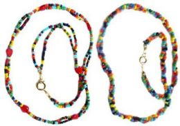 96 Units of Childrens Multi Colored Indian Seed Beads Woven Necklace - Necklace