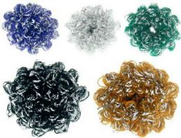 96 Units of Assorted Color Pony's With Silver Tone Accent Strands - PonyTail Holders