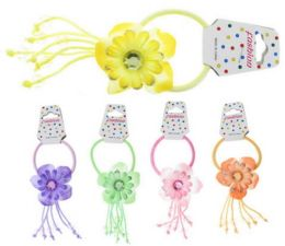 96 Units of Childrens Pony With Assorted Color Fabric Flower - PonyTail Holders