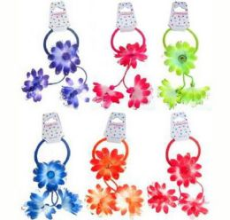 96 Units of Childrens Pony Tail Holders With Assorted Color Fabric Flower - PonyTail Holders