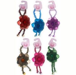 96 Units of Childrens Pony Tail Holders Assorted Colors With Flower - PonyTail Holders