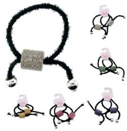 96 Units of Childrens Pony Tail Holders Black Elastic With Assorted Color Beads - PonyTail Holders