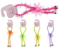 96 Units of Childrens Pony Tail Holders With Acrylic Flower - PonyTail Holders