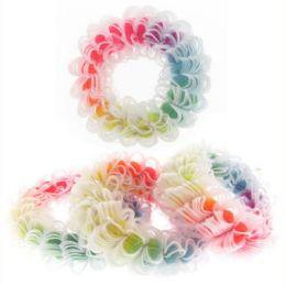 96 Units of Childrens Multi Color Neon Hair Scrunchies - Hair Scrunchies