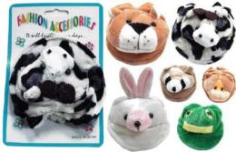 96 Units of Childrens Assorted Styles Of Beanie Animal Heads On Silvertone Barrette Clip - Hair Scrunchies