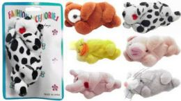 96 Units of Childrens Assorted Styles Of Beanie Animals On Silvertone Barrette Clip - Hair Scrunchies