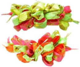 96 Units of Childrens Multi Colored Shoestring On A Hair Clip - Hair Scrunchies