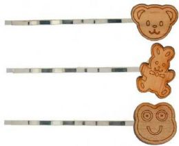96 Units of Childrens Silver Tone Bobby Pin With Assorted Wooden Animal - Hair Scrunchies