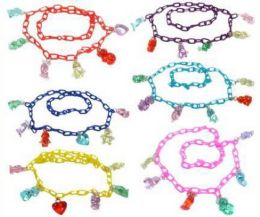 96 Units of Childrens Assorted Color Link Necklace - Necklace