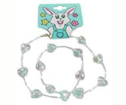 96 Units of Childrens Clear Acrylic Square Shaped And Heart Shaped Beads On A Cord Necklace - Necklace