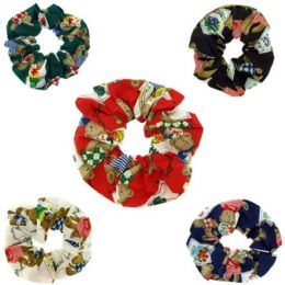 96 Units of Childrens Assorted Color Print Hair Scrunchies - Hair Scrunchies