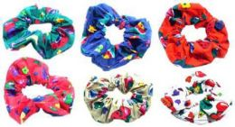 96 Units of Childrens Assorted Color Printed Hair Scrunchies - Hair Scrunchies